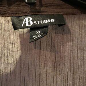 AB Studio Tops - AB Studio brown ruffle top w built in Cami